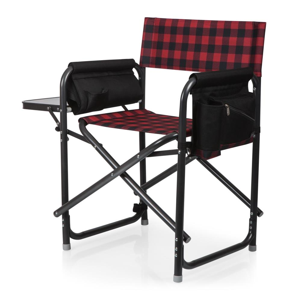 Picnic Time Red And Black Buffalo Plaid, Red And Black Folding Patio Chairs