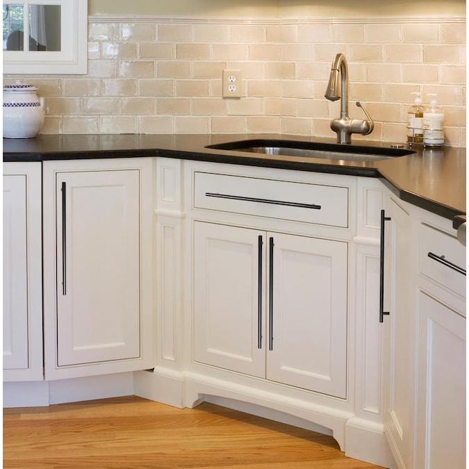 Utopia Alley Matte Black Rectangular, Modern Black Handles For Kitchen Cabinets