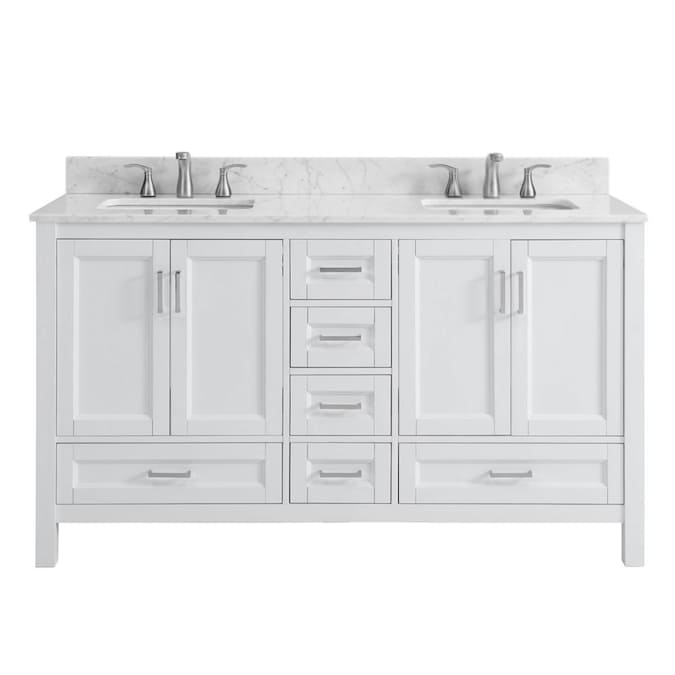 Unbranded Sl Durham White 60 In Vty Mbl Top In The Bathroom Vanities With Tops Department At Lowes Com