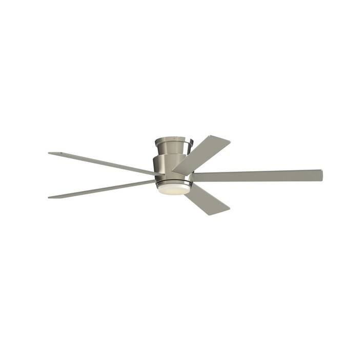 Fanimation Studio Collection Airehug 60 In Brushed Nickel Led Indoor Flush Mount Ceiling Fan With Remote 5 Blade In The Ceiling Fans Department At Lowes Com
