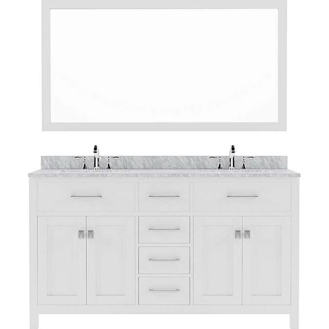 Virtu Usa Caroline 60 In White Undermount Double Sink Bathroom Vanity With Italian Carrara White Marble Top Mirror Included In The Bathroom Vanities With Tops Department At Lowes Com