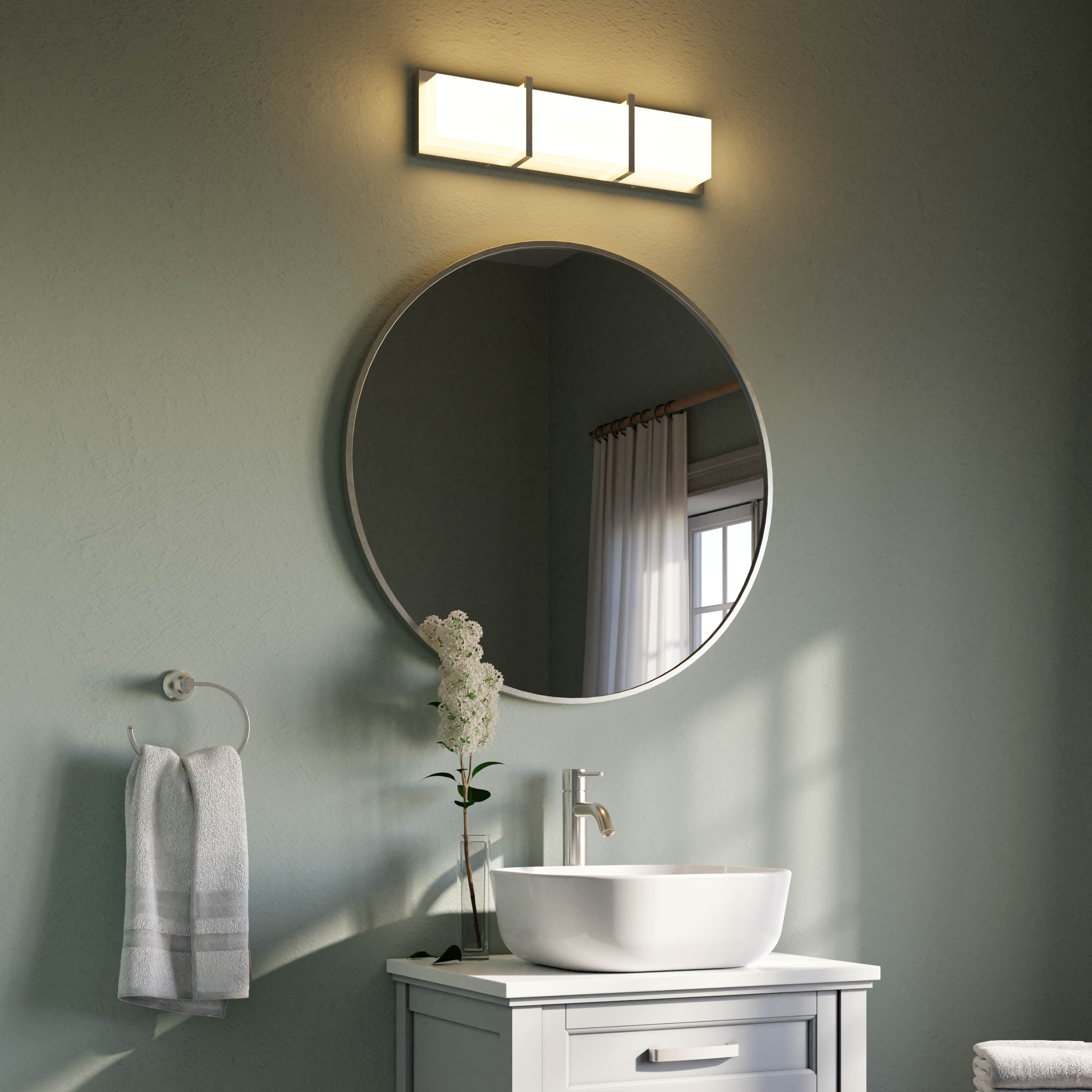 Allen Roth Roveland 30 In Brushed Nickel Round Bathroom Mirror At Lowes Com