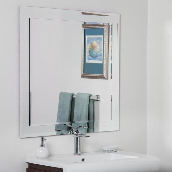 Silver Square Frameless Bathroom Mirror, Vanity Mirror Frameless