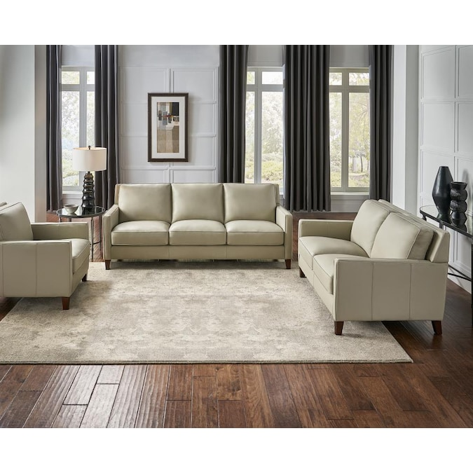 Hydeline Ashby 100 Leather 3 Piece, White Living Room Furniture Sets