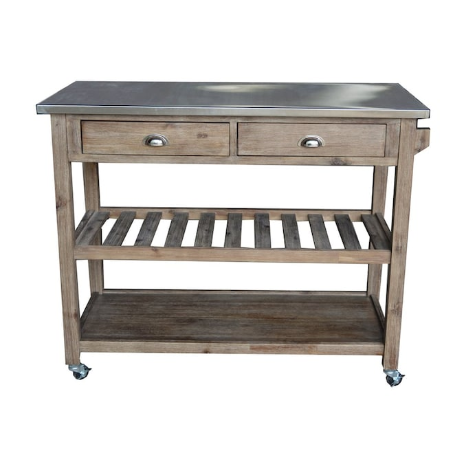 Boraam Industries Brown Rustic Kitchen Cart In The Kitchen Islands Carts Department At Lowes Com