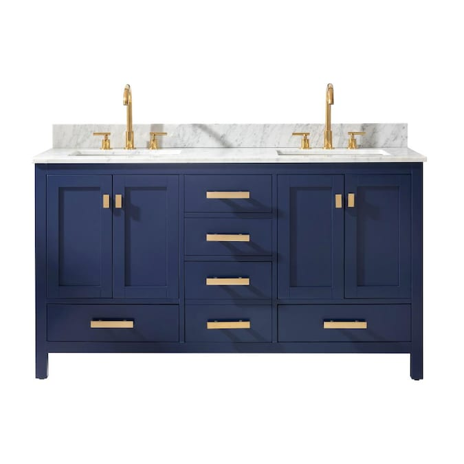 Design Element Valentino 60 In Blue Undermount Double Sink Bathroom Vanity With White Natural Marble Top In The Bathroom Vanities With Tops Department At Lowes Com