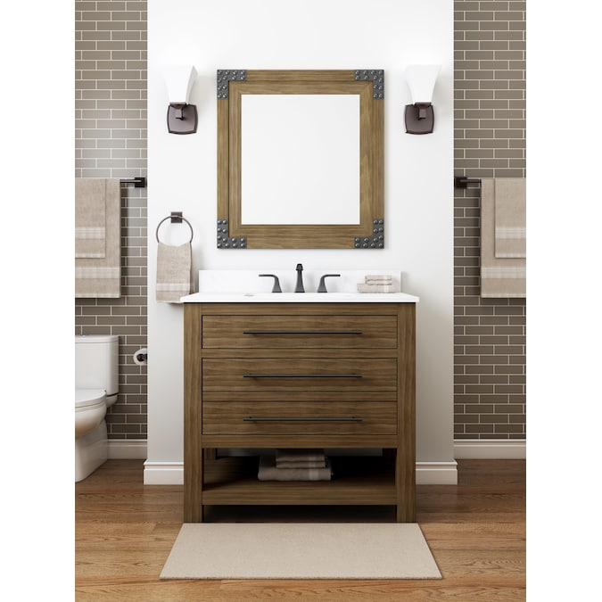 Allen Roth Kennilton 36 In Gray Oak Undermount Single Sink Bathroom Vanity With White Carrera Engineered Stone Top In The Bathroom Vanities With Tops Department At Lowes Com