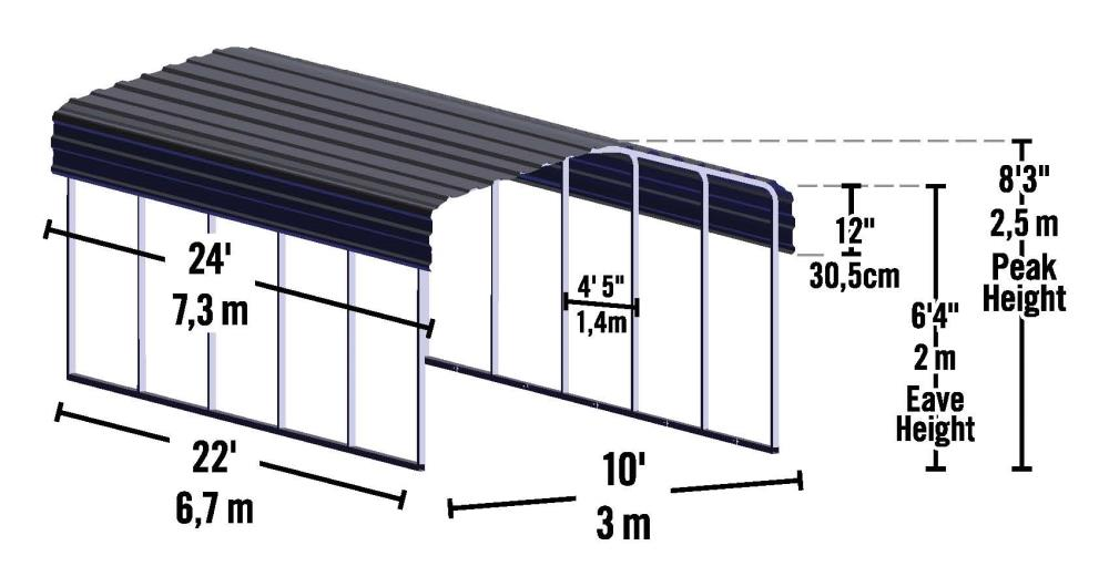 Arrow 10 Ft X 24 23 Ft Charcoal Metal Carport In The Carports Department At Lowes Com