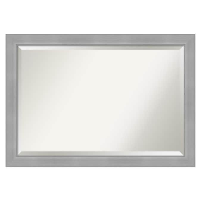 Amanti Art Vista Brushed Nickel Frame Collection 40 5 In Silver Rectangular Bathroom Mirror In The Bathroom Mirrors Department At Lowes Com