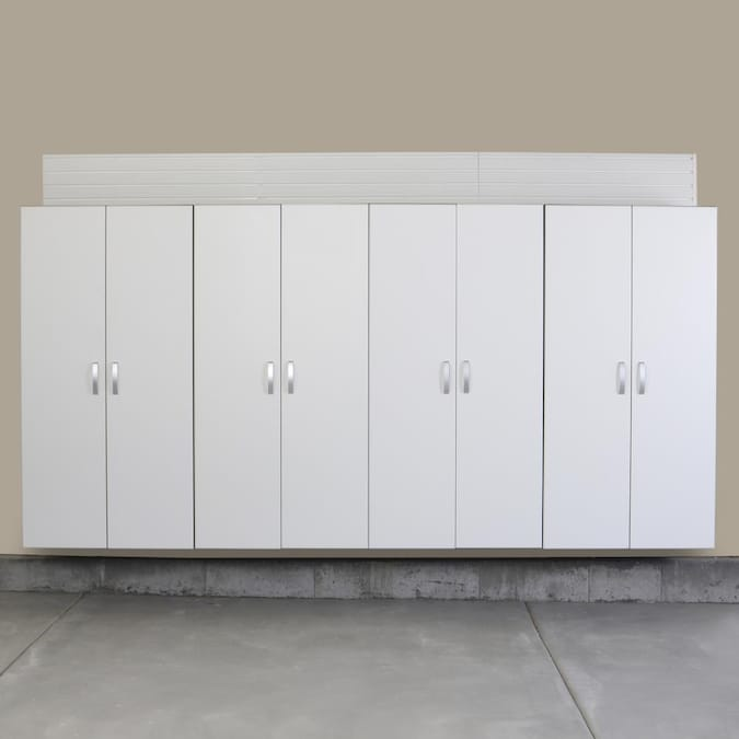 Flow Wall 4pc Jumbo Cabinet Storage, White Wood Garage Storage Cabinets