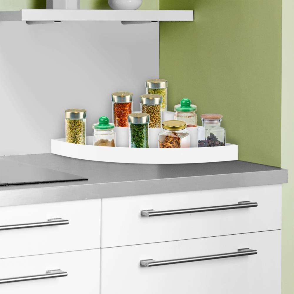 Hastings Home 3 Tier Corner Organizer Plastic Space Saver Countertop Pantry And Cabinet Storage Shelf With Non Slip Liner By Hastings Home In The Dining Kitchen Storage Department At Lowes Com