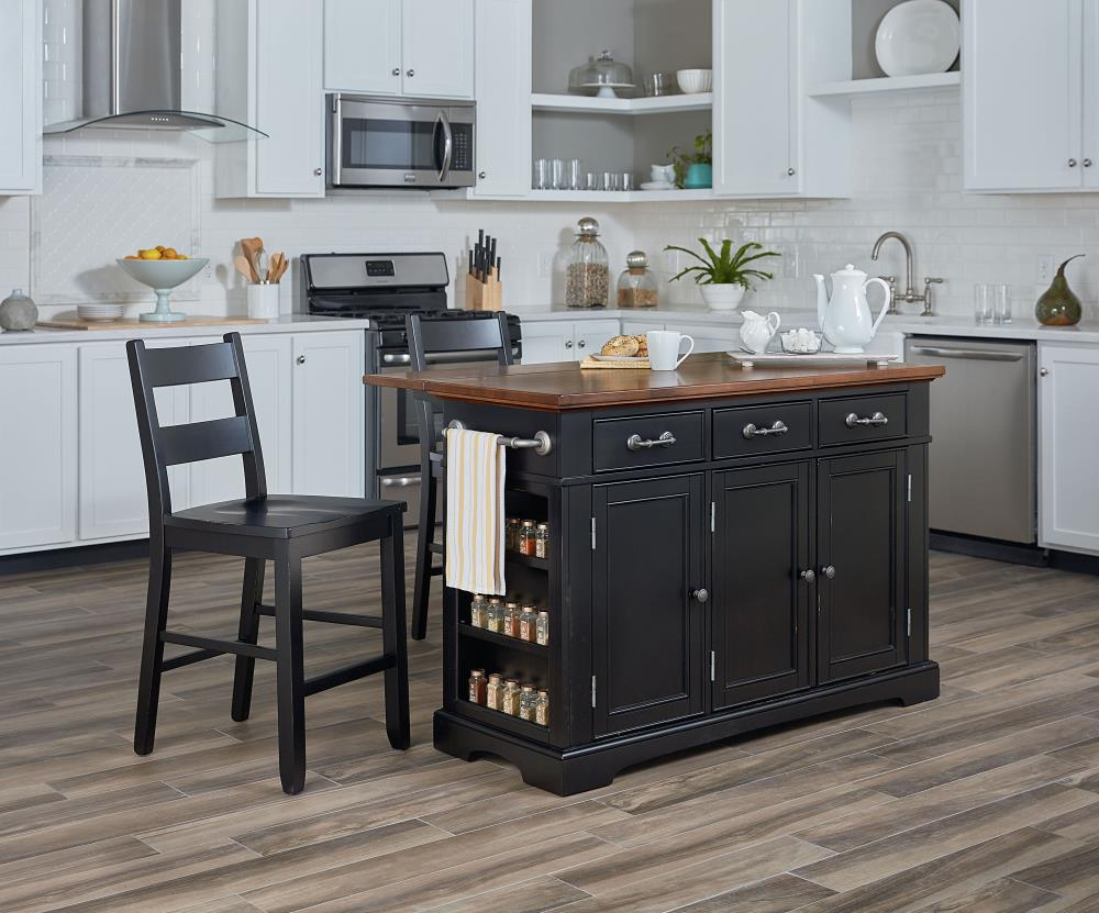 Osp Home Furnishings Black Wood Base With Mdf Wood Top Kitchen Island 57 In X 23 In X 36 25 In In The Kitchen Islands Carts Department At Lowes Com