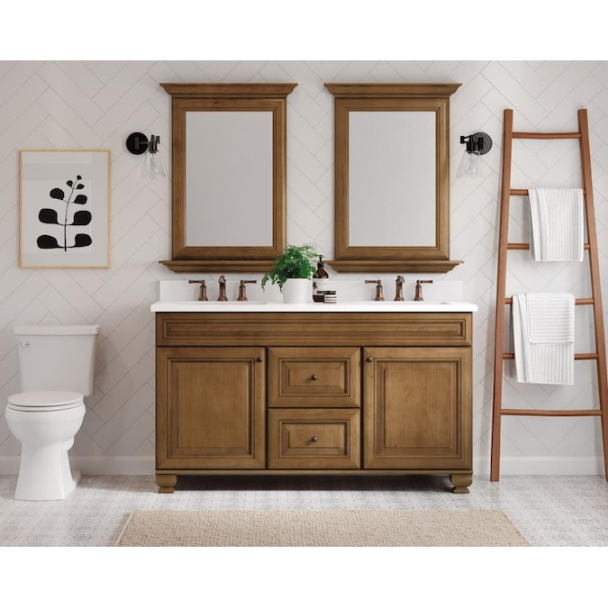 Diamond Now Ballantyne 61 In Mocha Brown With Ebony Glaze Undermount Double Sink Bathroom Vanity With White Engineered Stone Top In The Bathroom Vanities With Tops Department At Lowes Com