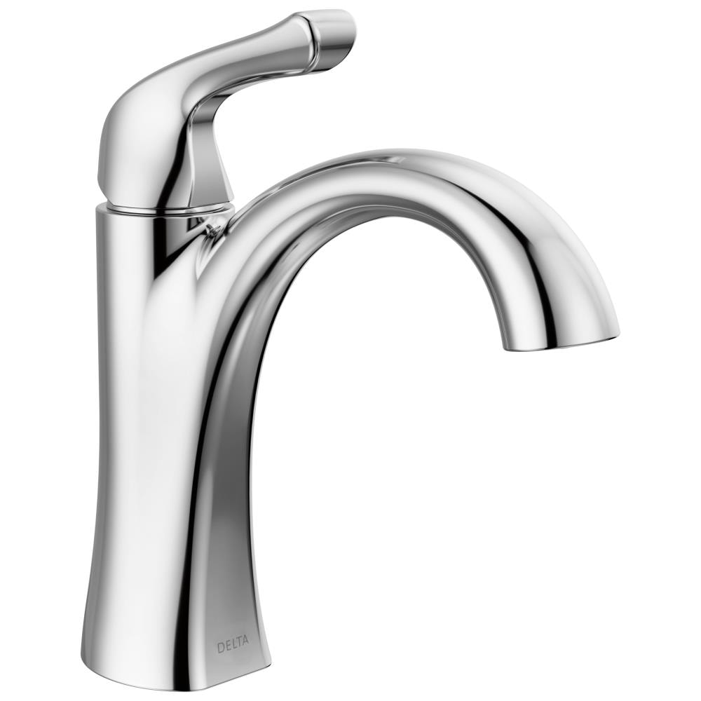 Delta Arvo Chrome 1 Handle Single Hole Watersense Bathroom Sink Faucet With Drain And Deck Plate In The Bathroom Sink Faucets Department At Lowes Com
