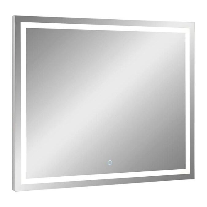 Allen Roth Hutchinson 36 In Lighted Led Aluminum Rectangular Bathroom Mirror In The Bathroom Mirrors Department At Lowes Com