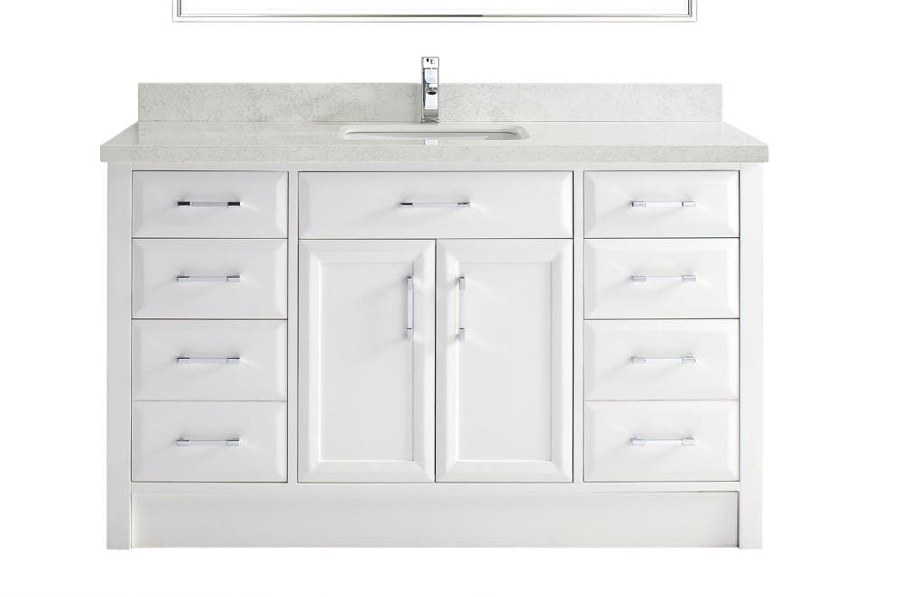 Spa Bathe Calumet 60-in White Undermount Single Sink Bathroom Vanity With  White And Grey Veins Engineered Stone Top In The Bathroom Vanities With  Tops Department At Lowes.com