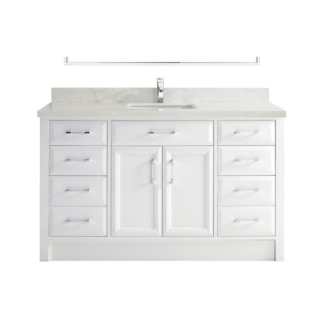 Spa Bathe Calumet 60 In White Undermount Single Sink Bathroom Vanity With White With Grey Veins Engineered Stone Top In The Bathroom Vanities With Tops Department At Lowes Com