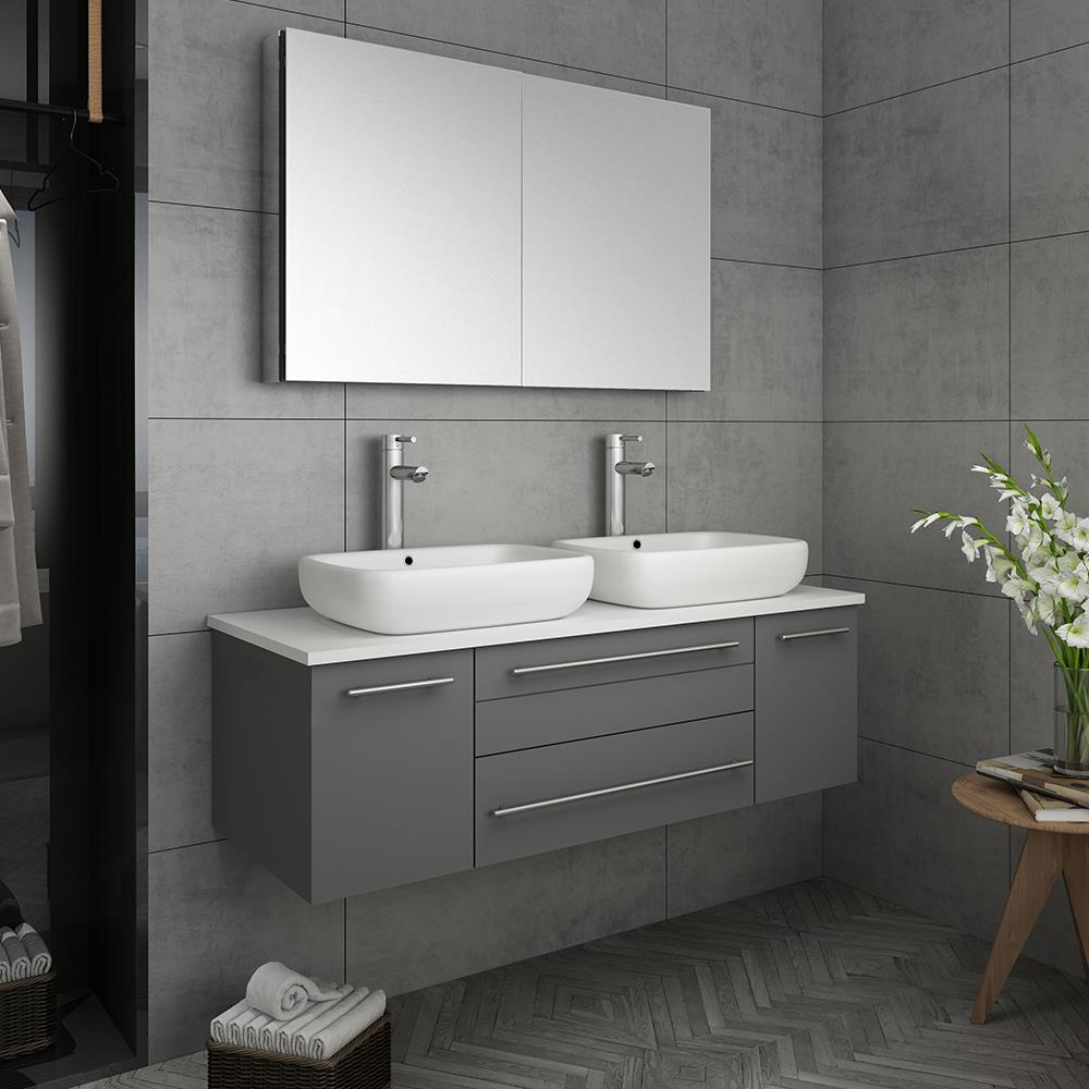 Fresca Stella 48 In Gray Double Sink Bathroom Vanity With White Quartz Top Faucet Included In The Bathroom Vanities With Tops Department At Lowes Com