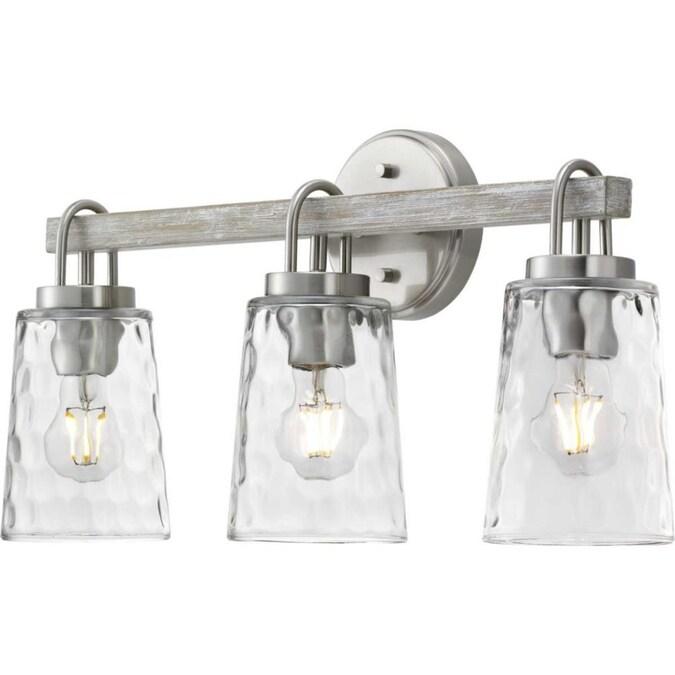 Progress Lighting Tiana 3 Light Nickel, Bathroom Vanity Light Bulbs