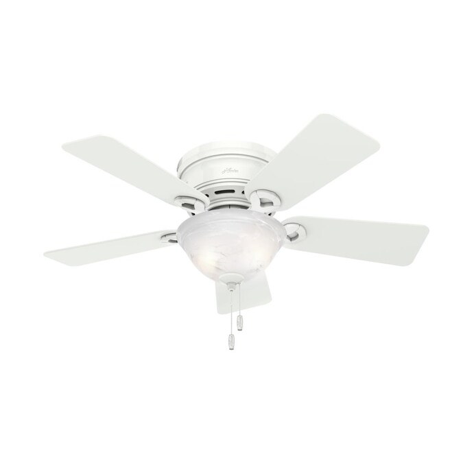 Hunter Conroy 42 In Snow White Led Ceiling Fan 5 Blade In The Ceiling Fans Department At Lowes Com