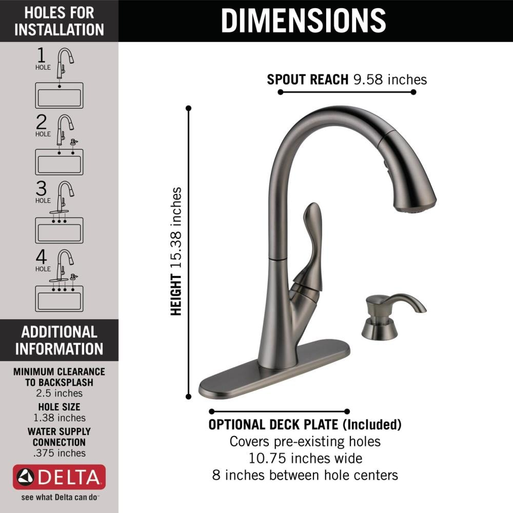 Delta Ashton Black Stainless 1 Handle Deck Mount Pull Down Handle Kitchen Faucet Deck Plate Included In The Kitchen Faucets Department At Lowes Com
