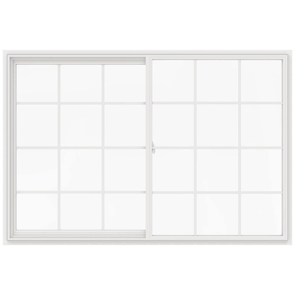 JELD-WEN V-2500 71.5-in x 47.5-in x 2.9065-in Jamb Between The Glass Left-operable Vinyl New Construction Egress White Sliding Window -  LOWOLJW232900582