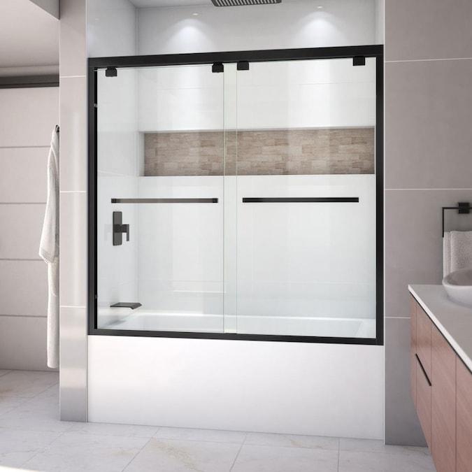 Satin Black Bathtub Door, Glass Door Bathroom