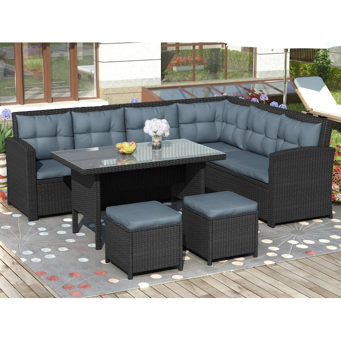 Clihome Outdoor 6 Piece Patio Furniture, Outdoor Patio Set With Ottomans