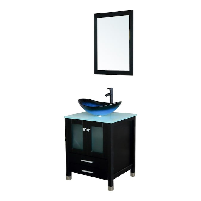 Wonline 24 In Black Single Sink Bathroom Vanity With Blue Wood Top Mirror And Faucet Included In The Bathroom Vanities With Tops Department At Lowes Com