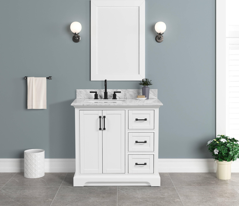 Allen Roth St John 36 In Carrara, White Bathroom Vanity With Carrera Marble Top