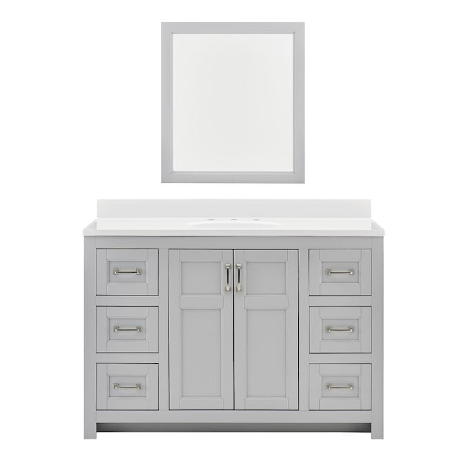 Style Selections 49 In Light Gray Single Sink Bathroom Vanity With White Acrylic Top Mirror Included In The Bathroom Vanities With Tops Department At Lowes Com