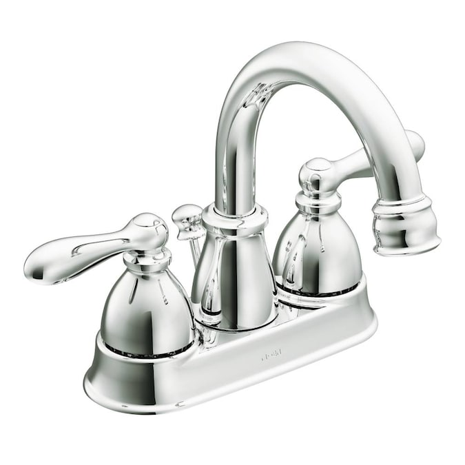 Moen Caldwell Chrome 2 Handle 4 In Centerset Watersense Bathroom Sink Faucet With Drain In The Bathroom Sink Faucets Department At Lowes Com