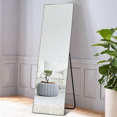 W Sliver Framed Floor Mirror, Full Length Mirror Black Trim