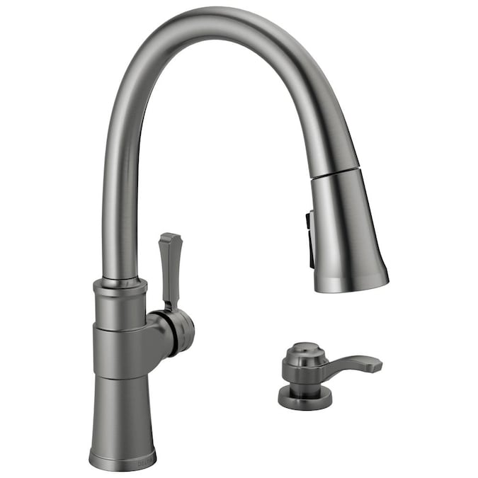 Details about  /Delta Pull-Out Sprayer Kitchen Faucet Metal 1-Handle Deck Mount Stainless Steel