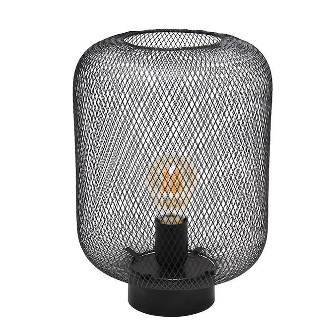 Black Metal Table Lamp in a Cone Design Shade and Black Lamp Shade