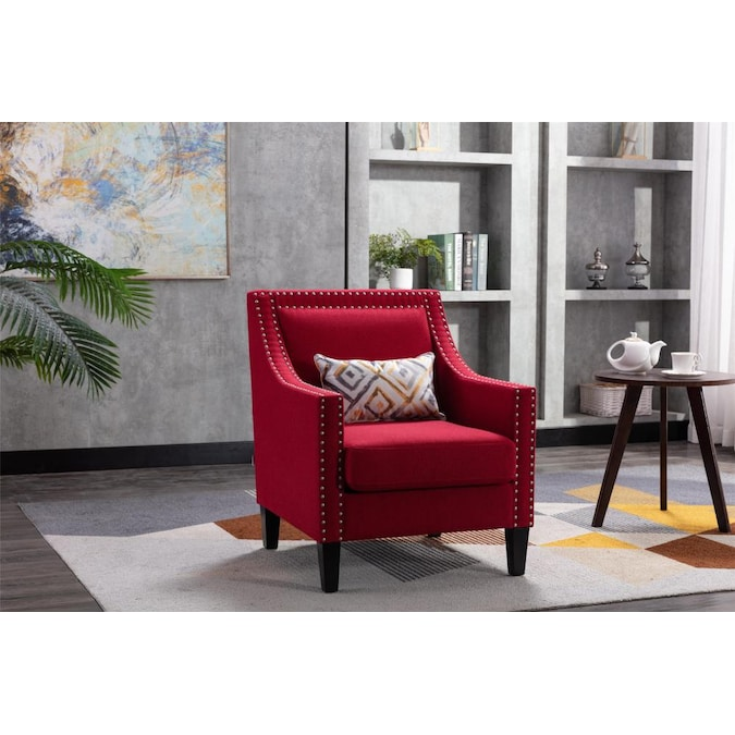 Arm Chairs Comfy Single Sofa Chair Red, Accent Chairs Living Room