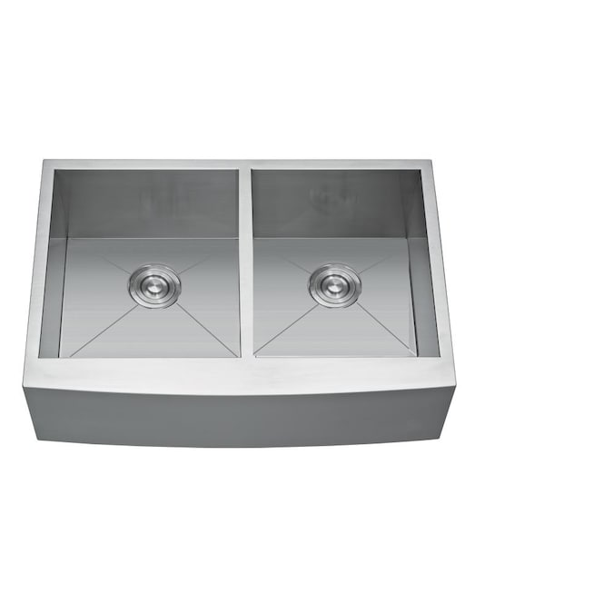Casainc Dual Mount 30 In X 20 In Silver Double Equal Bowl 2 Hole Kitchen Sink In The Kitchen Sinks Department At Lowes Com
