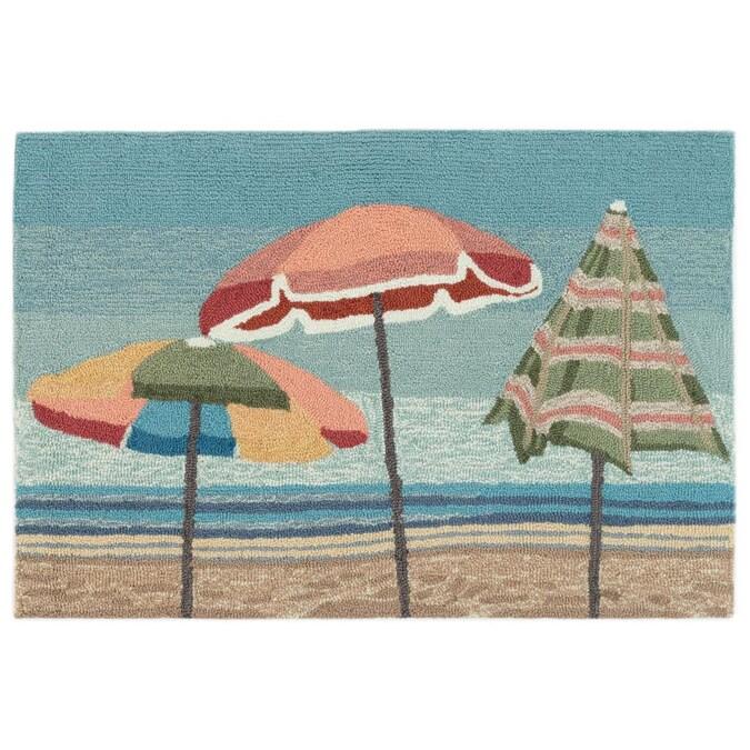 """Rug//Door Mat Hooked Out door Home Decor /""""Beach Umbrellas/"""""""