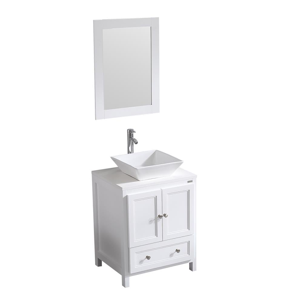 White Single Sink Bathroom Vanity, Bathroom Vanity Set