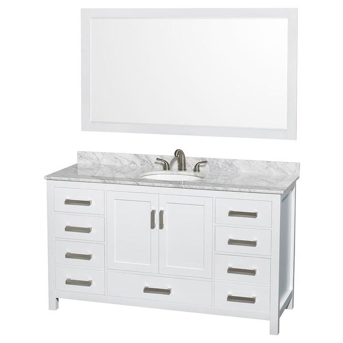 White Carrera Natural Marble Top, 5 Ft Bathroom Vanity
