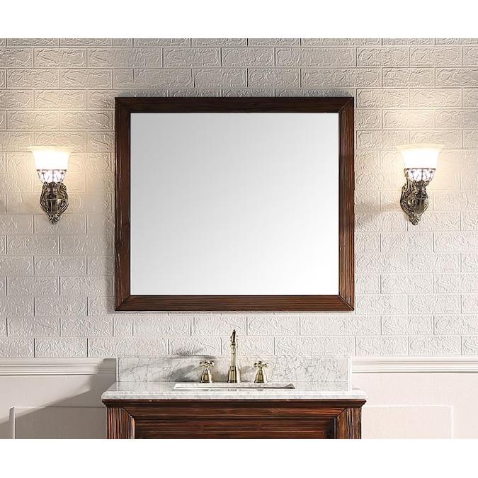 Supreme Wood Shasta 35 4 In Wooden, Dark Brown Wood Bathroom Mirror