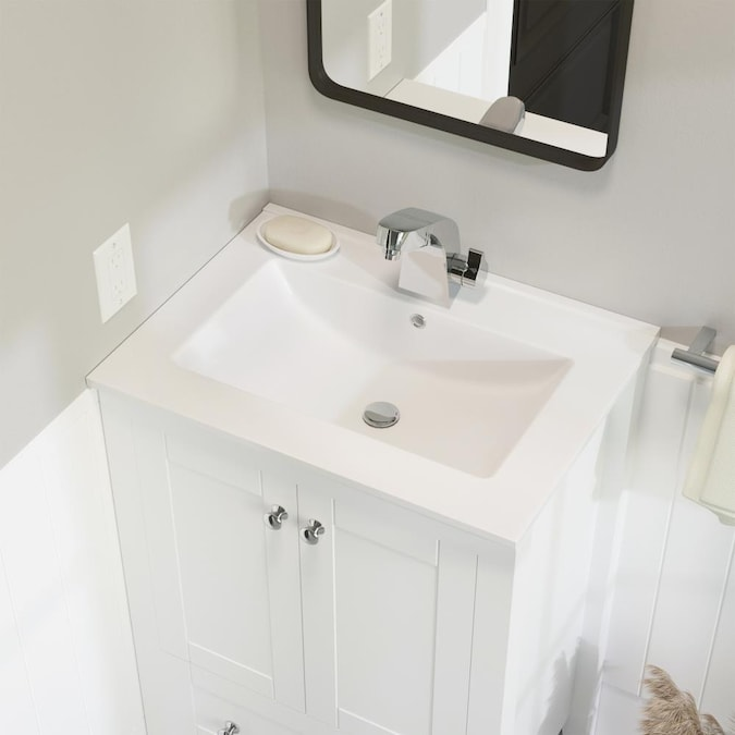 Swiss Madison Glossy White Ceramic Drop In Rectangular Bathroom Sink With Overflow Drain 18 5 In X 24 In In The Bathroom Sinks Department At Lowes Com