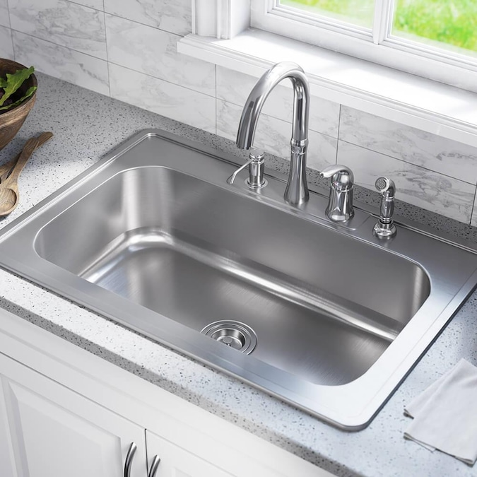 Mr Direct Drop In 32 88 In X 22 In Stainless Steel Single Bowl 4 Hole Kitchen Sink In The Kitchen Sinks Department At Lowes Com