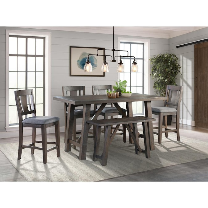 Picket House Furnishings Picket House Furnishings Carter Counter Height 6pc Dining Set Table Four Chairs And Bench In The Dining Room Sets Department At Lowes Com