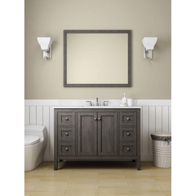 Allen Roth Everdene 48 In Grey Undermount Single Sink Bathroom Vanity With Carrera White Engineered Stone Top In The Bathroom Vanities With Tops Department At Lowes Com