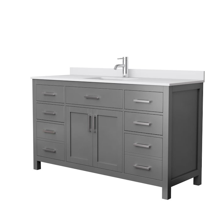 Wyndham Collection Beckett 60 In Dark Gray Undermount Single Sink Bathroom Vanity With White Cultured Marble Cultured Marble Top In The Bathroom Vanities With Tops Department At Lowes Com