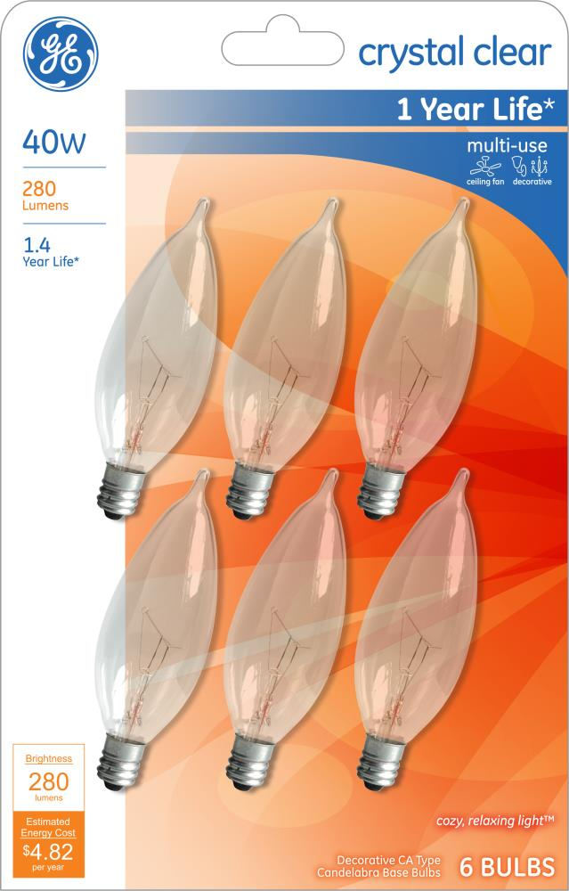 Ge Classic 40 Watt Dimmable Ca10 Light, Incandescent Luminaire Chandelier Bulb