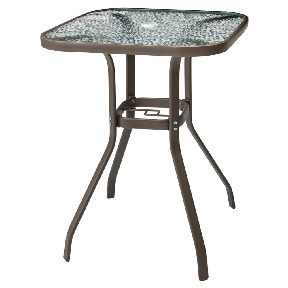 Crestlive S Patio Bar Table, Outdoor Bar Height Glass Top Table