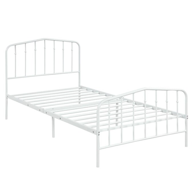 Pouuin White Twin Metal Bed Frame, How Large Is A Twin Bed Frame