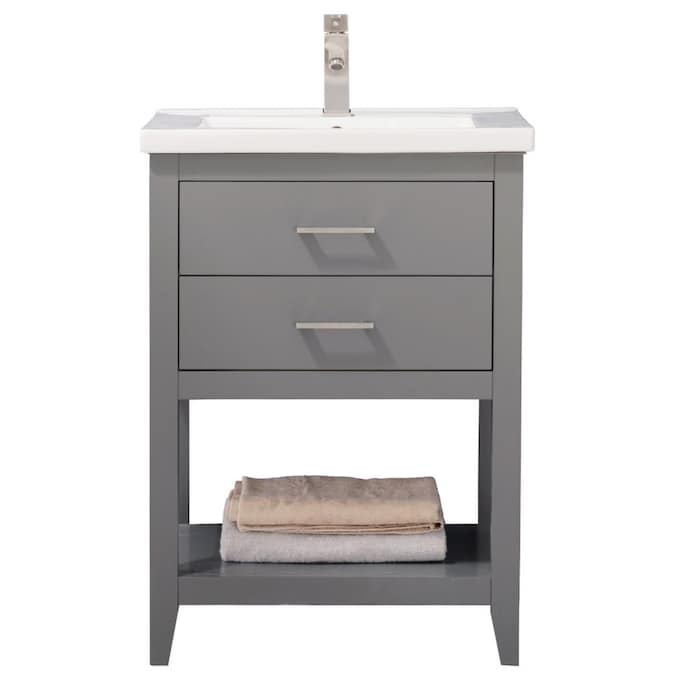 Design Element Cara 24 In Gray Single Sink Bathroom Vanity With White Porcelain Top In The Bathroom Vanities With Tops Department At Lowes Com